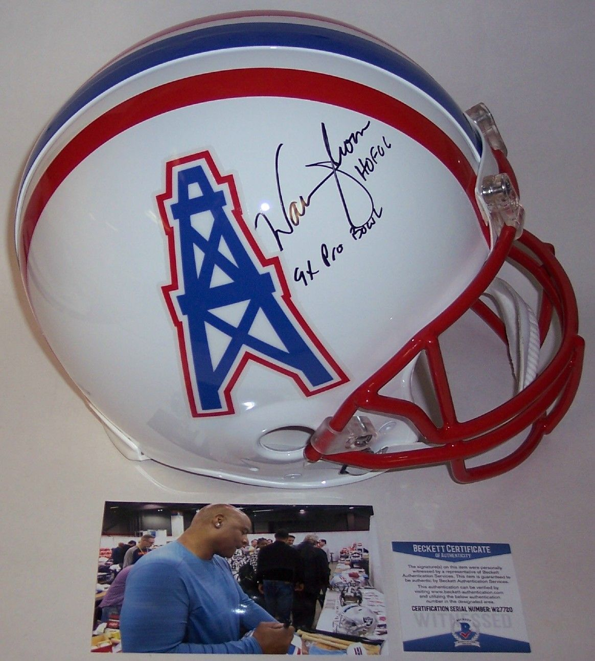 Warren Moon Autographed Hand Signed Houston Oilers Full Size Authentic Proline Helmet - BAS Beckett Authentication PSM-Powers Sports Memorabilia