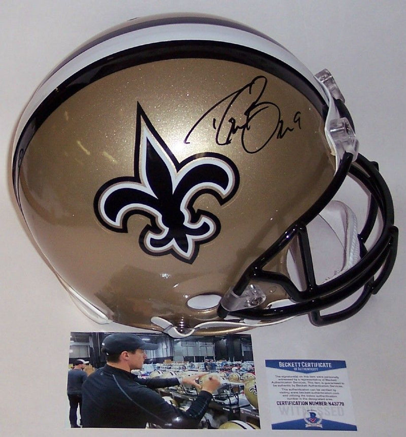 Drew Brees Autographed Hand Signed New Orleans Saints Full Size Authentic Pro Helmet - BAS Beckett PSM-Powers Sports Memorabilia
