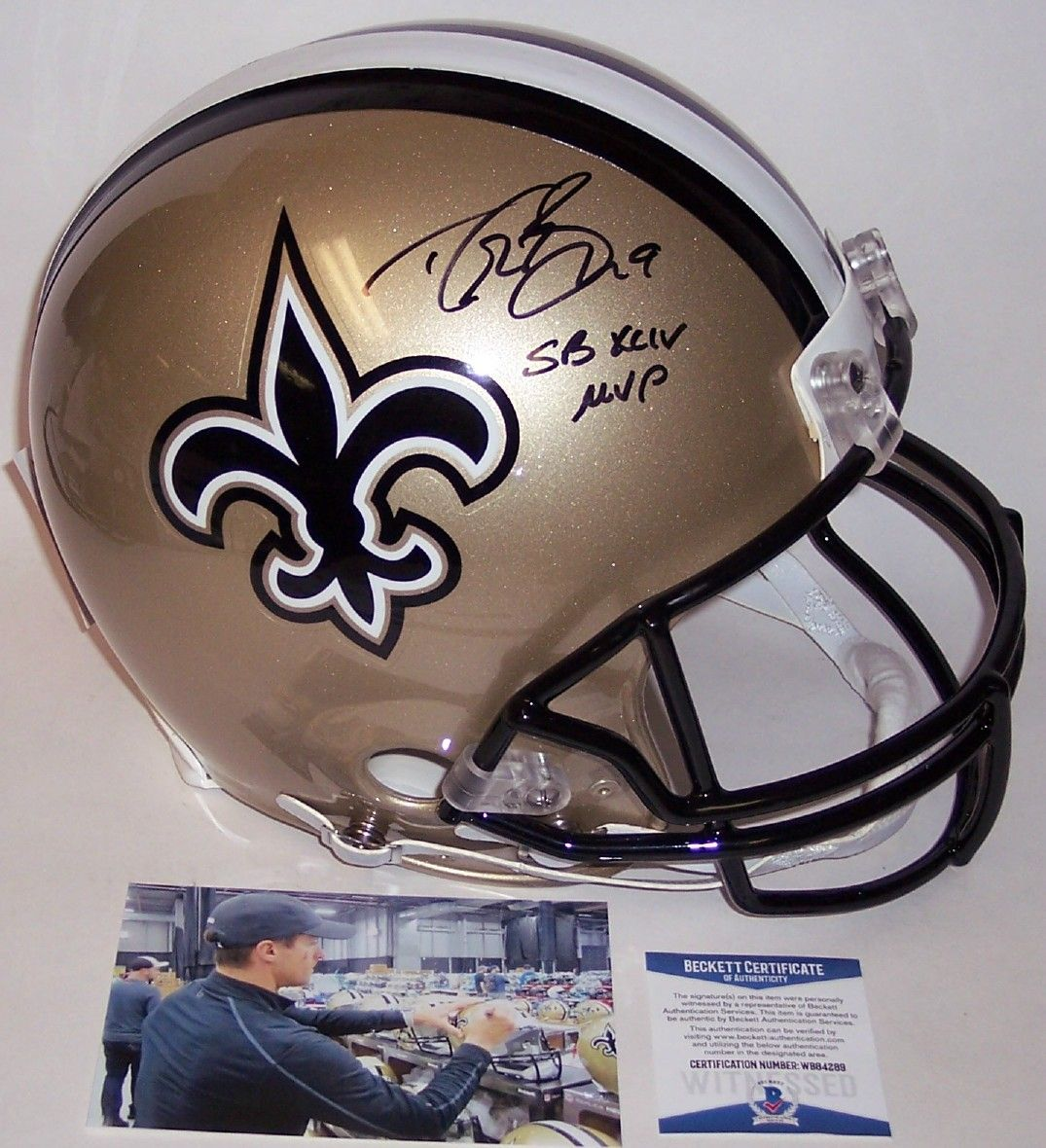 Drew Brees Autographed Hand Signed New Orleans Saints Full Size Authentic Helmet - BAS Beckett PSM-Powers Sports Memorabilia