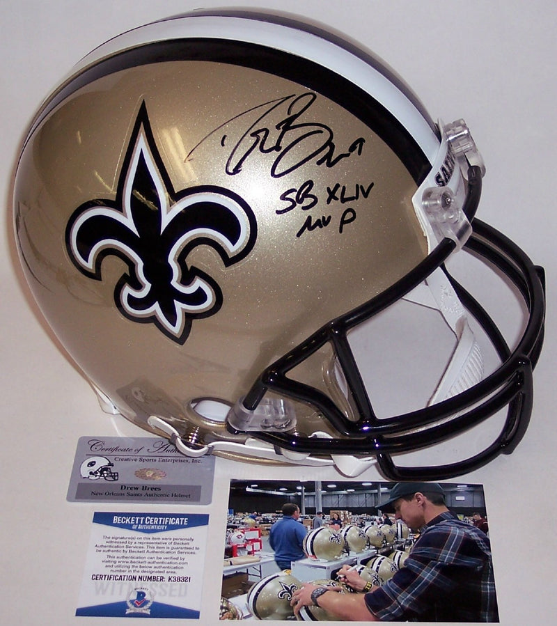 Drew Brees Autographed Hand Signed New Orleans Saints Speed Full Size Authentic Helmet - PSA/DNA PSM-Powers Sports Memorabilia