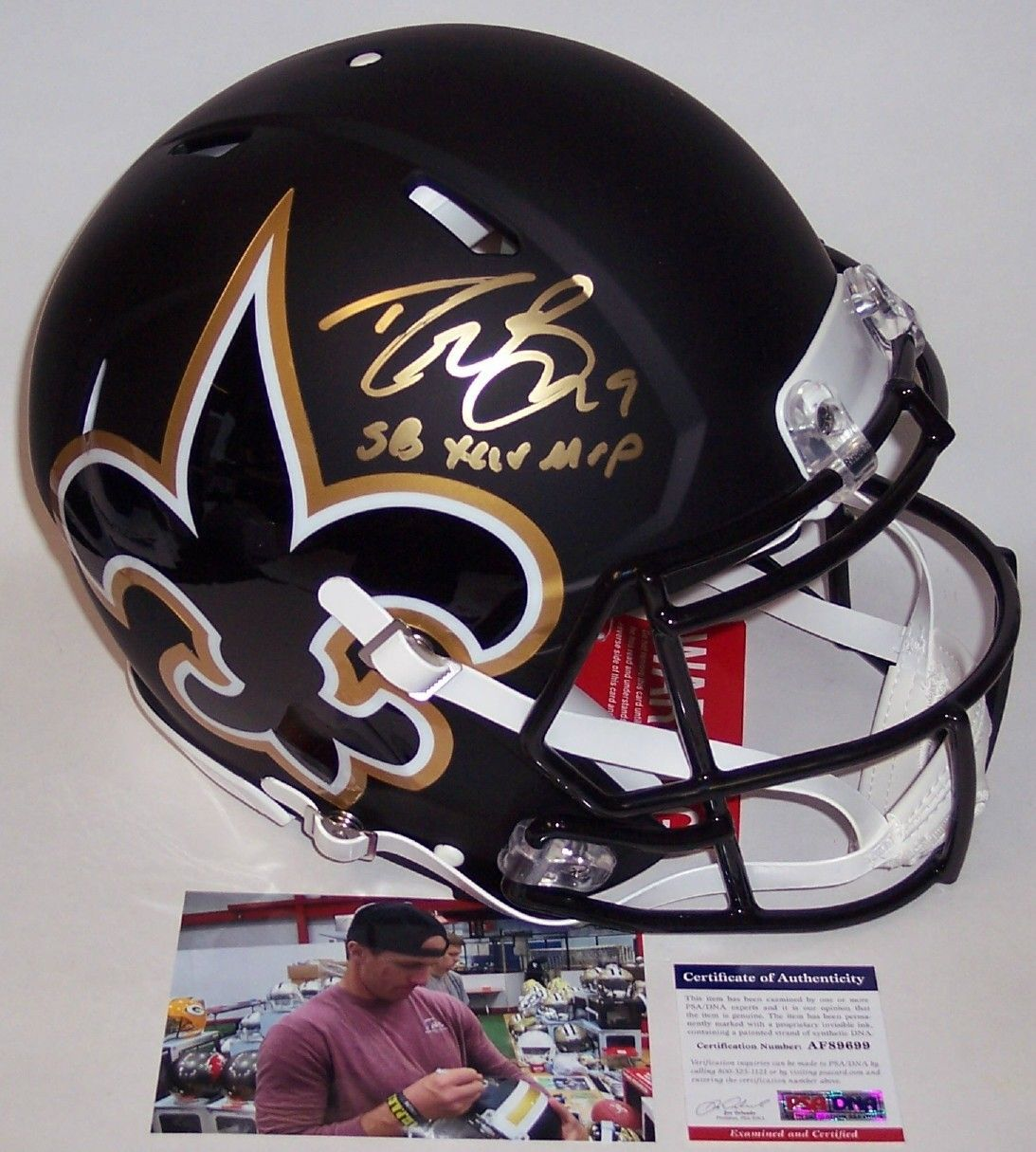 Drew Brees Autographed Hand Signed Riddell New Orleans Saints AMP Speed Full Size Authentic Helmet - PSA/DNA PSM-Powers Sports Memorabilia