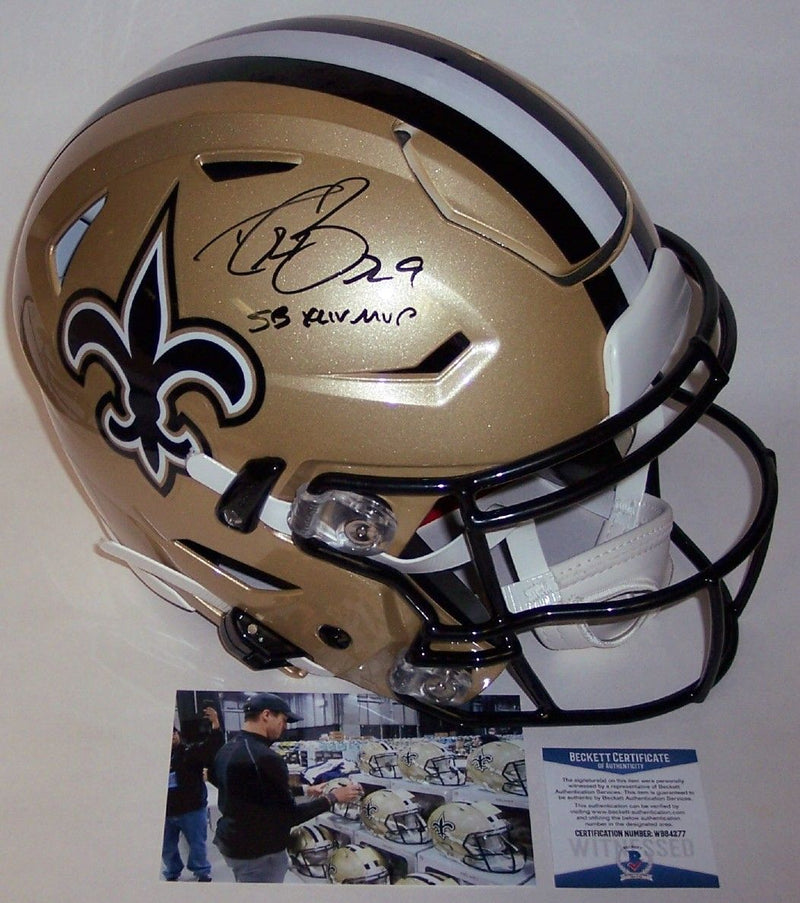 Drew Brees Autographed Hand Signed New Orleans Saints FLEX Speed Full Size Authentic Helmet - BAS Beckett PSM-Powers Sports Memorabilia