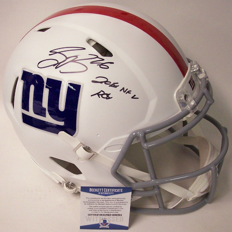 Saquon Barkley Autographed Hand Signed New York Giants Flat White Speed Authentic Full Size Helmet - BAS Beckett PSM-Powers Sports Memorabilia
