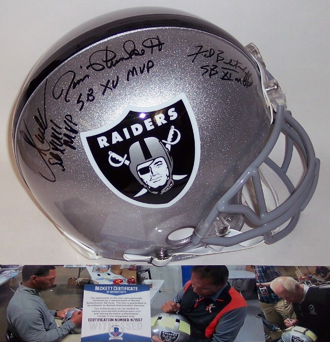 Marcus Allen, Fred Biletnikoff & Jim Plunkett Autographed Hand Signed Raiders Full Size Authentic Pro Line Helmet - BAS Beckett PSM-Powers Sports Memorabilia