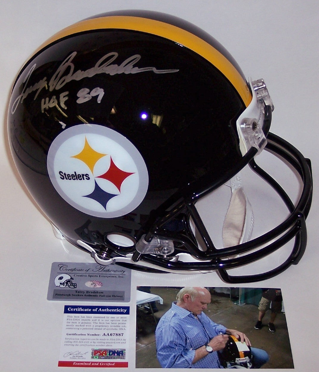 Terry Bradshaw Autographed Hand Signed Pittsburgh Steelers Full Size Authentic Helmet - PSA/DNA PSM-Powers Sports Memorabilia