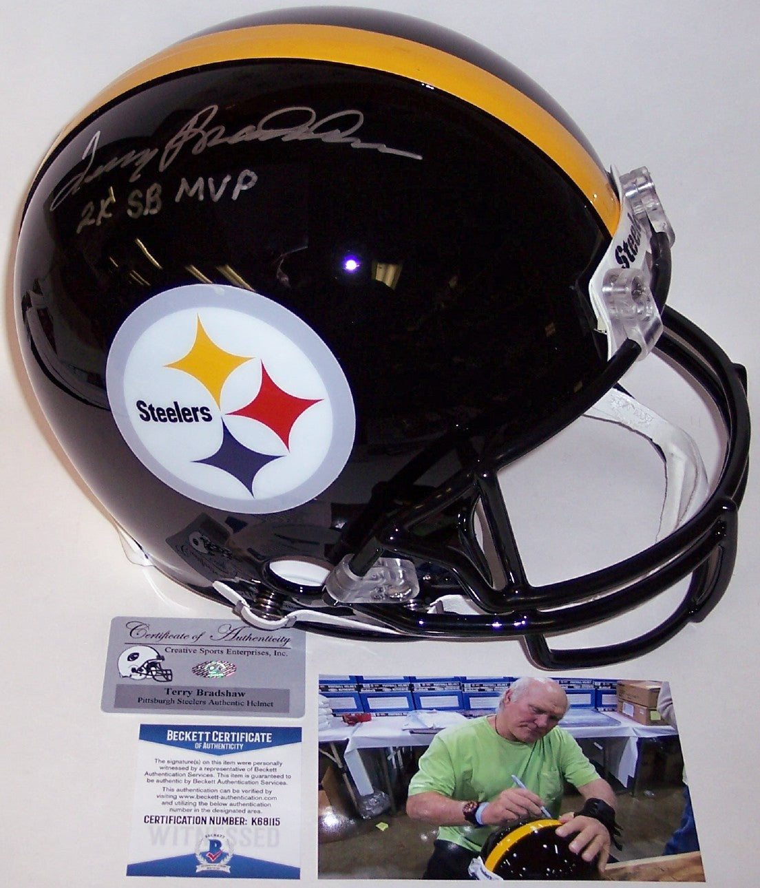 2aaee011357 Terry Bradshaw Autographed Hand Signed Pittsburgh Steelers Full Size  Authentic Helmet - BAS Beckett PSM-