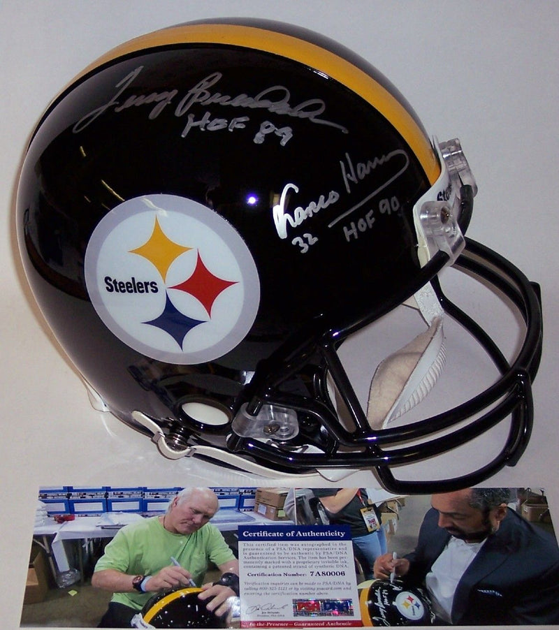 Terry Bradshaw & Franco Harris Autographed Hand Signed Pittsburgh Steelers Authentic Full Size Helmet - PSA/DNA PSM-Powers Sports Memorabilia