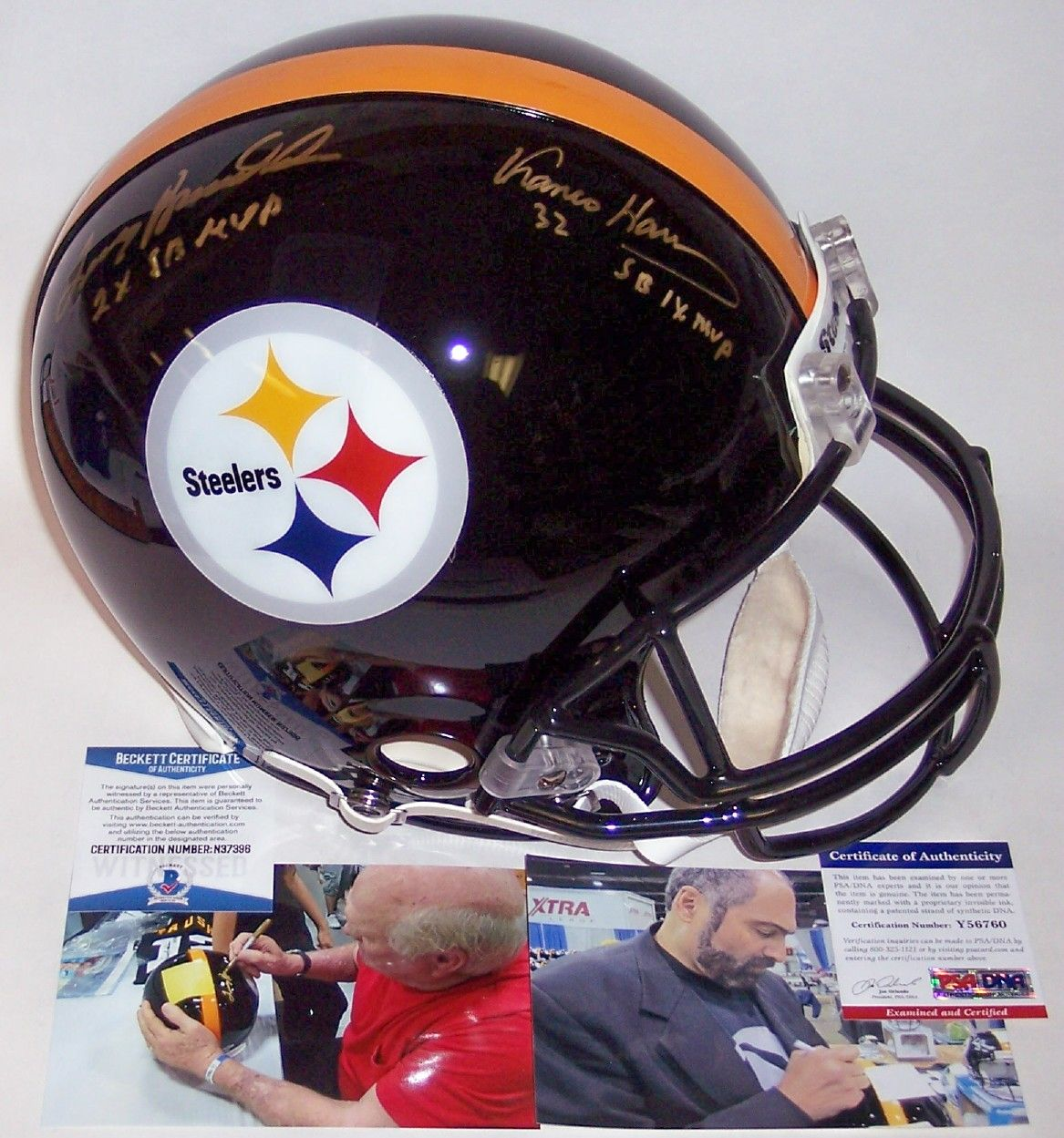 Terry Bradshaw & Franco Harris Autographed Hand Signed Pittsburgh Steelers Full Size Authentic Helmet - BAS Beckett PSM-Powers Sports Memorabilia