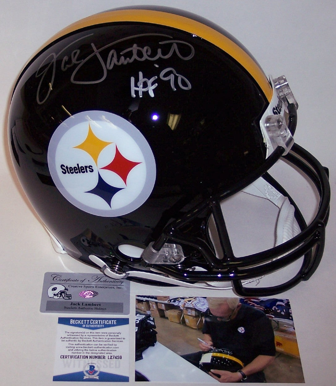 Jack Lambert Autographed Hand Signed Pittsburgh Steelers Full Size Authentic Helmet - BAS Beckett PSM-Powers Sports Memorabilia