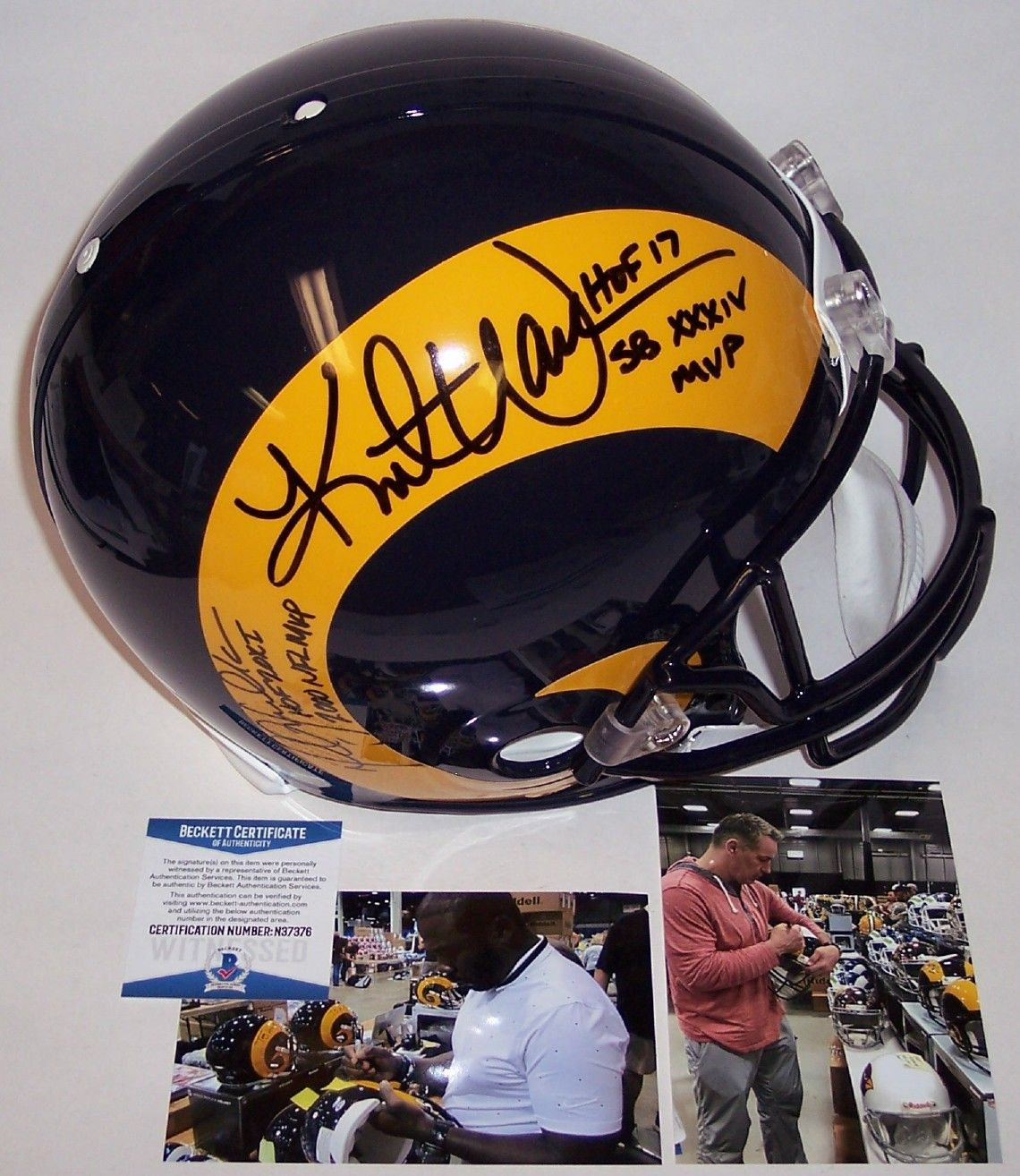 Kurt Warner & Marshall Faulk Autographed Hand Signed Rams Throwback Full Size Authentic Pro Helmet - BAS Beckett Authentication PSM-Powers Sports Memorabilia