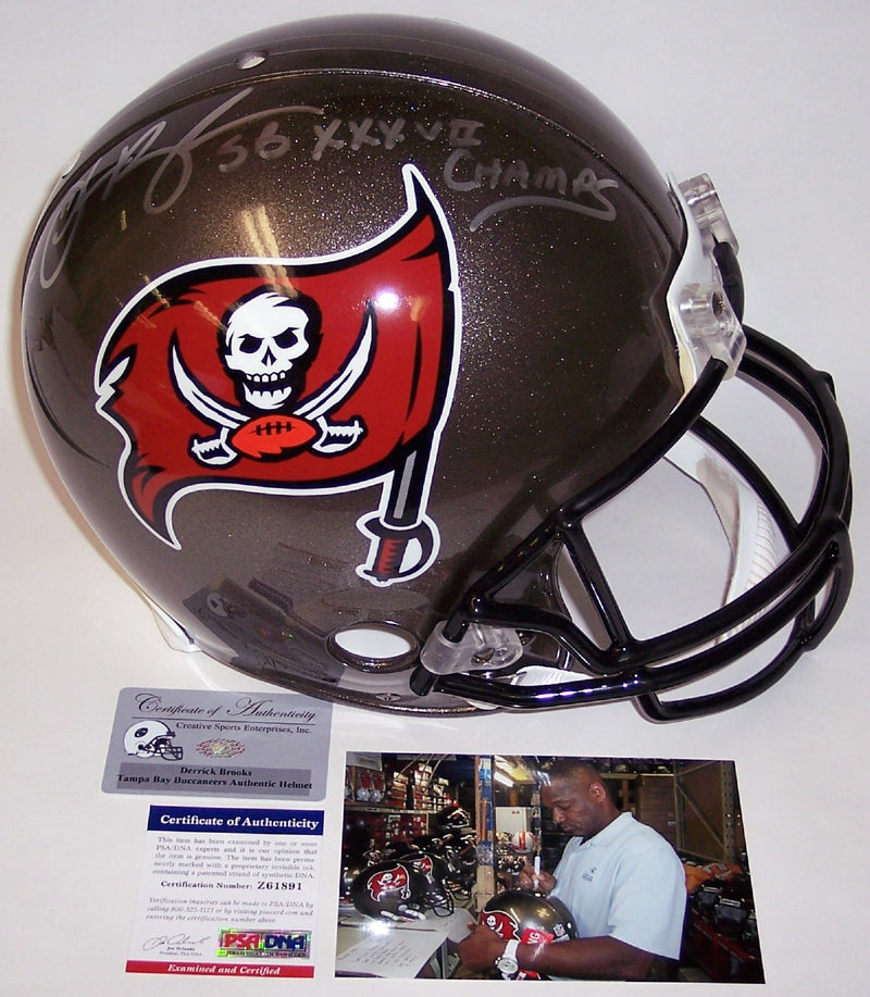 Derrick Brooks Autographed Hand Signed Tampa Bay Buccaneers Authentic Helmet - PSA/DNA PSM-Powers Sports Memorabilia