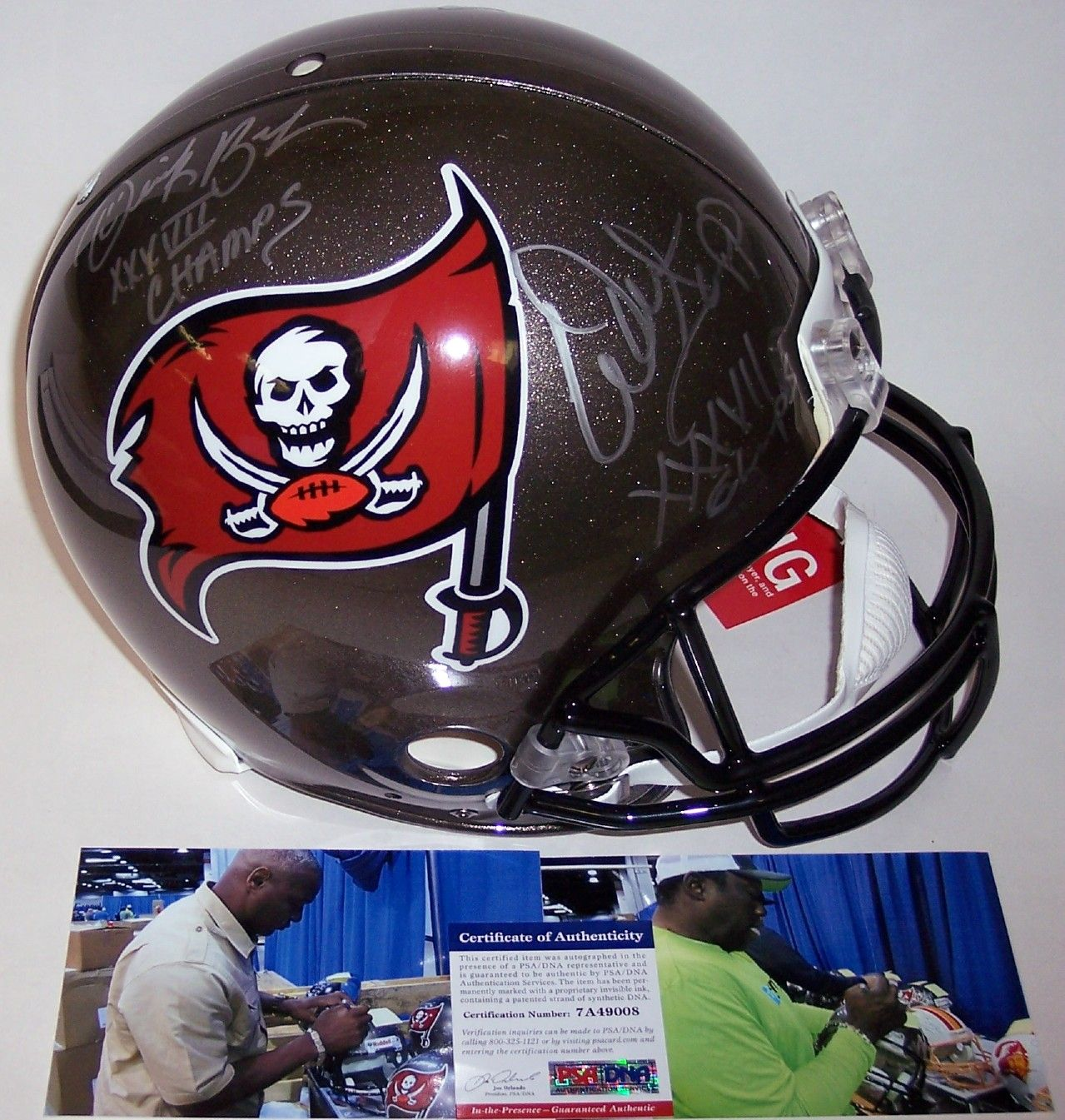 Derrick Brooks and Warren Sapp Autographed Hand Signed Tampa Bay Buccaneers Full Size Authentic Helmet - PSA/DNA PSM