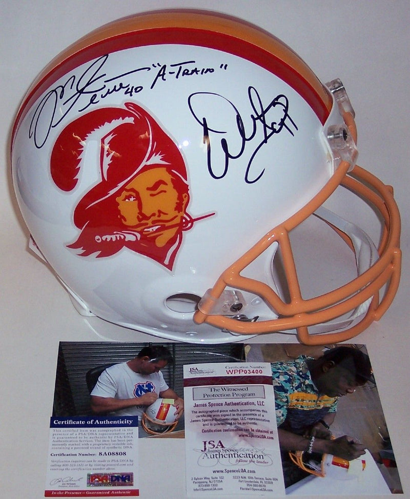 Mike Alstott & Warren Sapp Autographed Hand Signed Tampa Bay Bucs Throwback Full Size Authentic Helmet - PSA/DNA PSM-Powers Sports Memorabilia