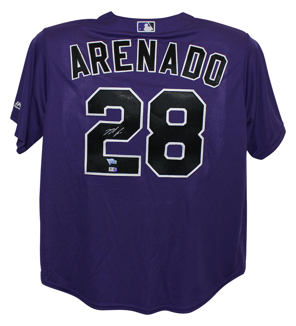Nolan Arenado Autographed Colorado Rockies Majestic Purple XL Jersey FAN PSM-Powers Sports Memorabilia
