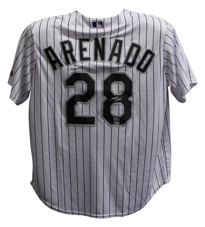 Nolan Arenado Signed Colorado Rockies Majestic White XL Jersey FAN PSM-Powers Sports Memorabilia