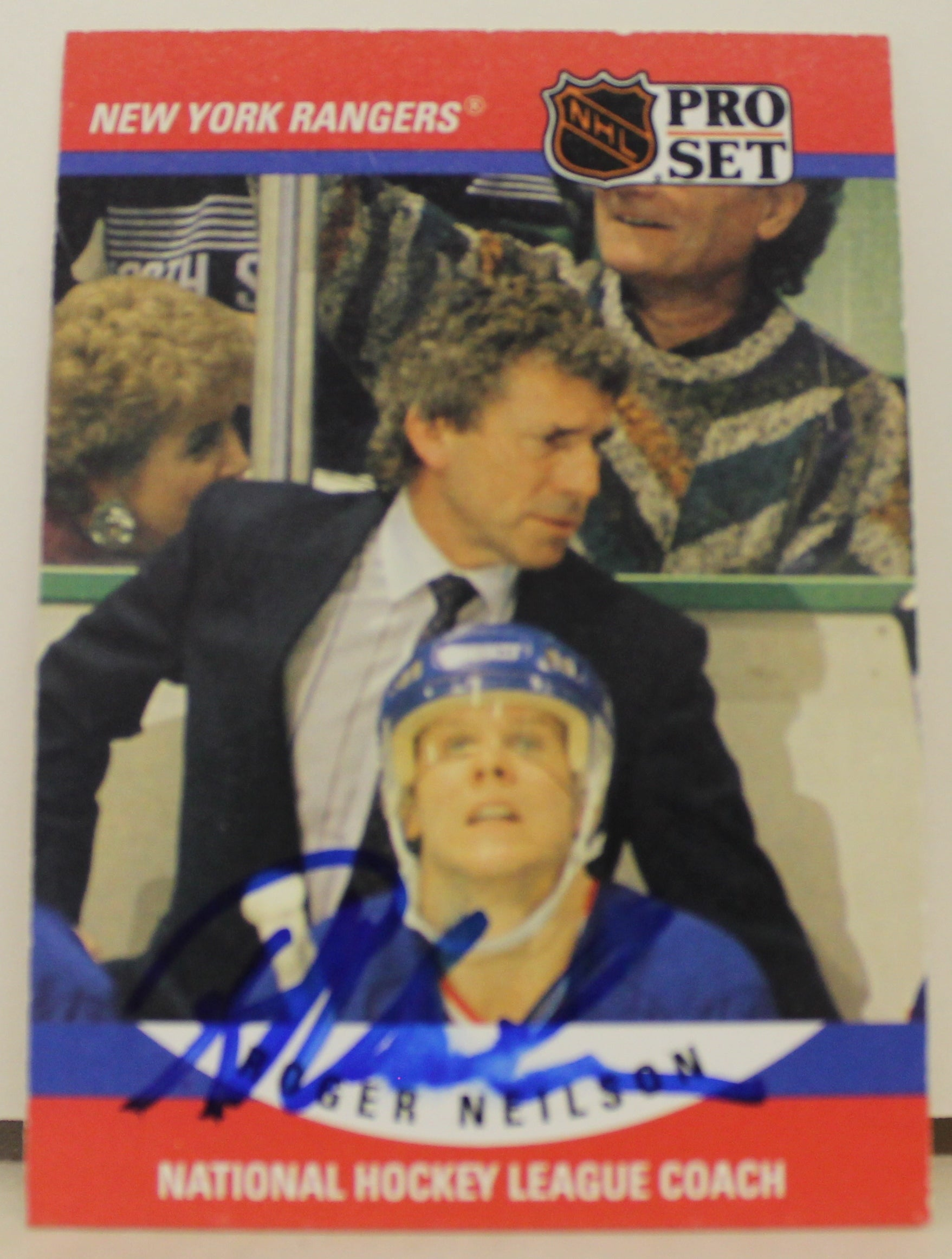 Roger Neilson New York Rangers Autographed 1990-91 Pro Set Card PSM-Powers Sports Memorabilia