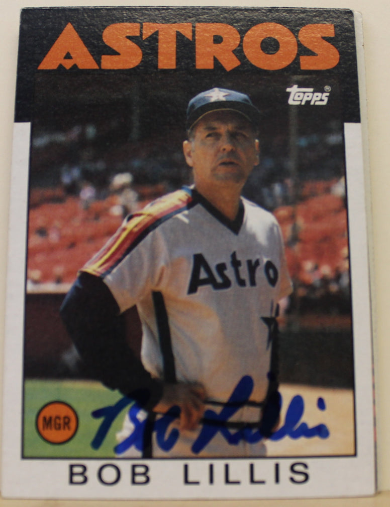 Bob Lillis Houston Astros Autographed 1986 Topps Card #561. This item comes with a certificate of authenticity from Autograph-Sports. PSM-Powers Sports Memorabilia