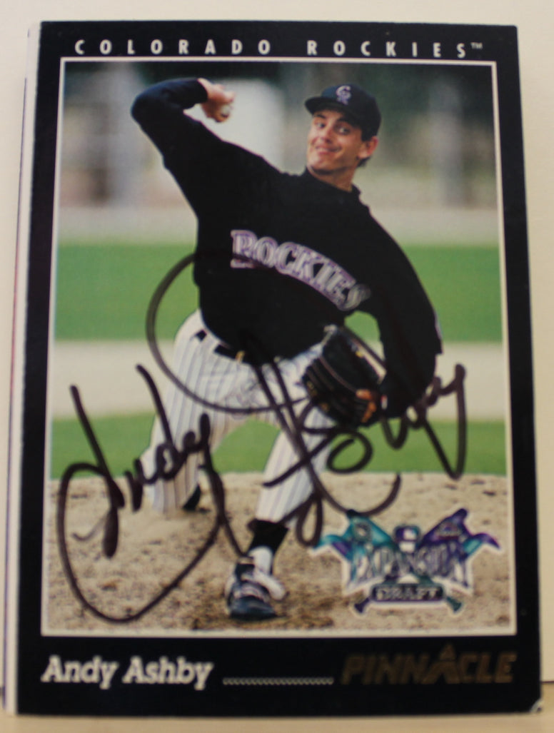 Andy Ashby Colorado Rockies Autographed 1993 Pinnacle Card #572. This item comes with a certificate of authenticity from Autograph-Sports. PSM-Powers Sports Memorabilia