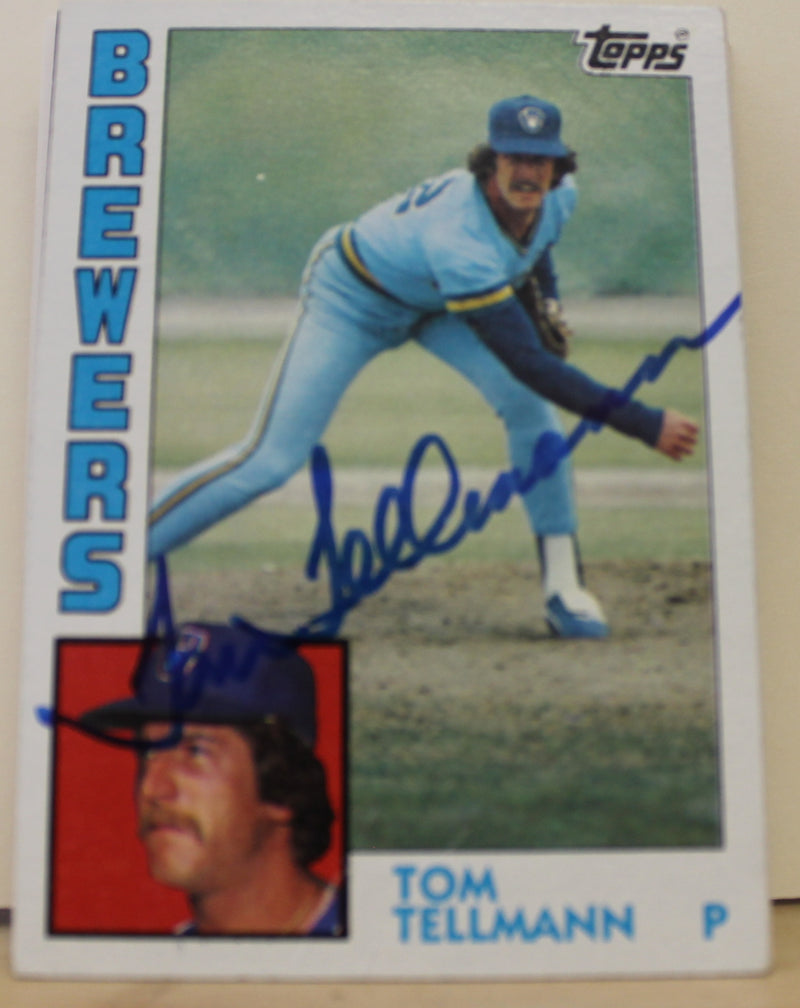 Tom Tellmann Milwaukee Brewers Autographed 1984 Topps Card #476. This item comes with a certificate of authenticity from Autograph-Sports. PSM-Powers Sports Memorabilia