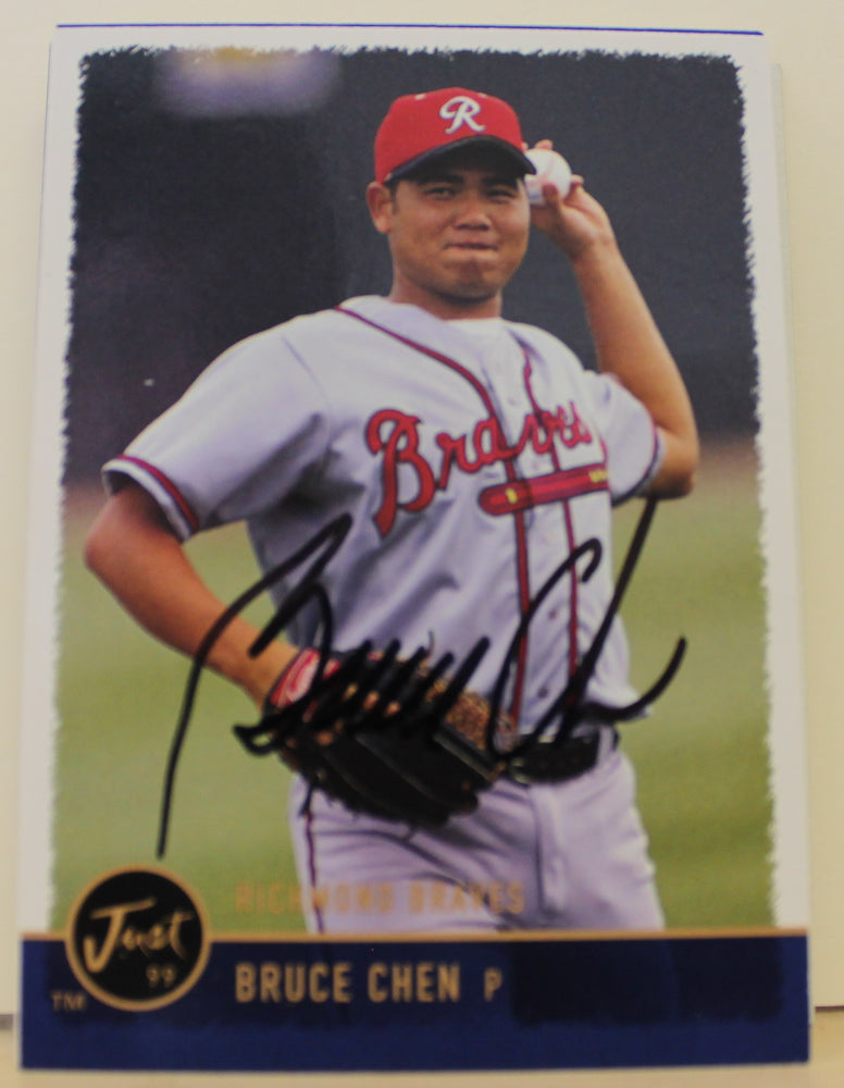 Bruce Chen Richmond Braves Autographed 1999 Just Card #68. This item comes with a certificate of authenticity from Autograph-Sports. PSM-Powers Sports Memorabilia