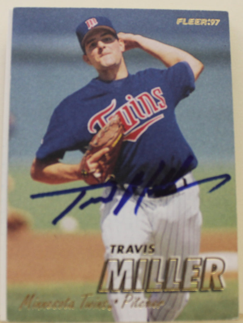 Travis Miller Minnesota Twins Autographed 1997 Fleer Card #150. This item comes with a certificate of authenticity from Autograph-Sports. PSM-Powers Sports Memorabilia