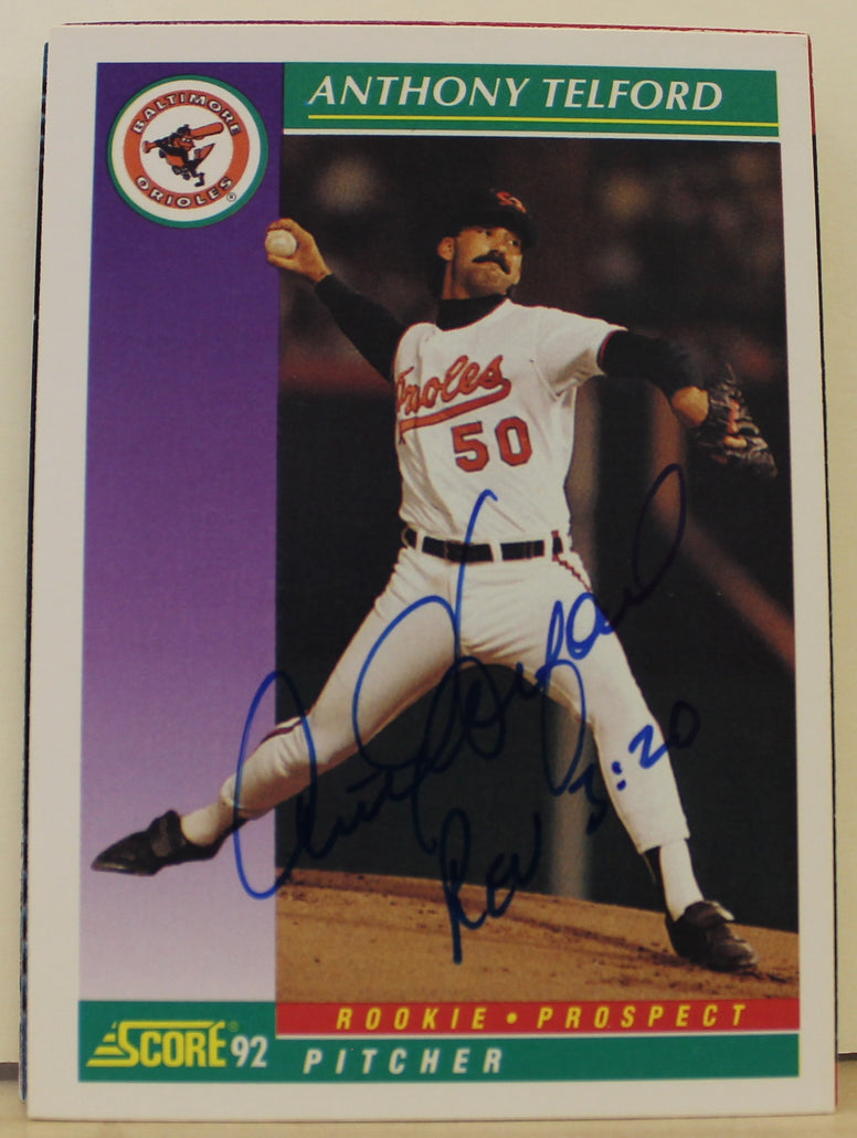 Anthony Telford Baltimore Orioles Autographed 1992 Score Card #853. This item comes with a certificate of authenticity from Autograph-Sports. PSM-Powers Sports Memorabilia