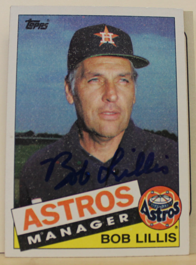 Bob Lillis Houston Astros Autographed 1985 Topps Card #186. This item comes with a certificate of authenticity from Autograph-Sports. PSM-Powers Sports Memorabilia