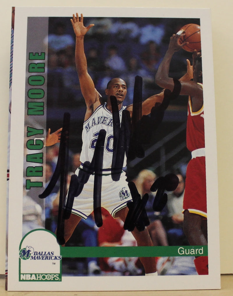 Tracy Moore Dallas Mavericks Autographed 1992-93 Hoops Card #372. This item comes with a certificate of authenticity from Autograph-Sports. PSM-Powers Sports Memorabilia