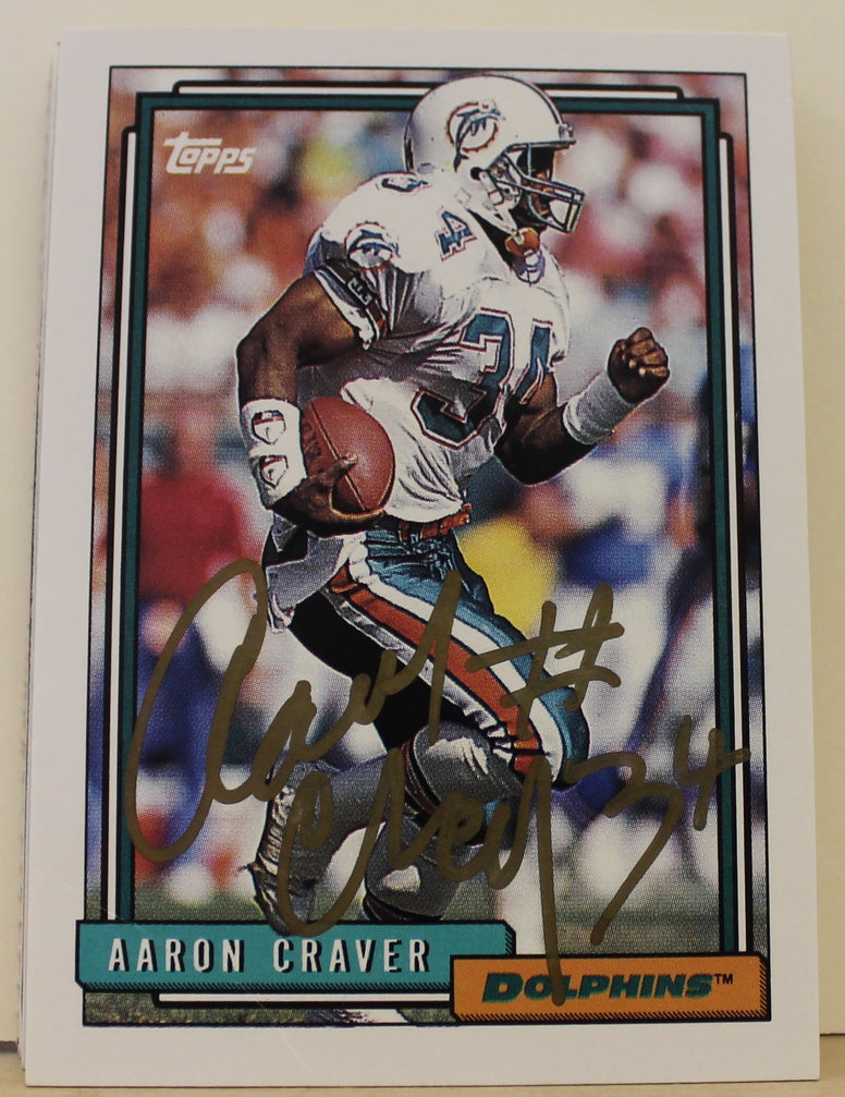 Aaron Craver Miami Dolphins Autographed 1992 Topps Card #317. This item comes with a certificate of authenticity from Autograph-Sports. PSM-Powers Sports Memorabilia