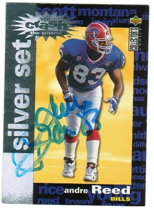 Andre Reed Buffalo Bills Autographed 1995 Upper Deck Collectors Choice Silver Crash Card PSM-Powers Sports Memorabilia