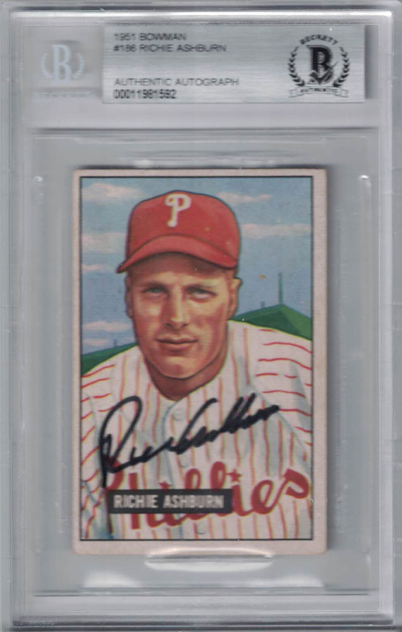 Richie Ashburn Autographed Philadelphia Phillies 1951 Bowman Card BAS PSM-Powers Sports Memorabilia