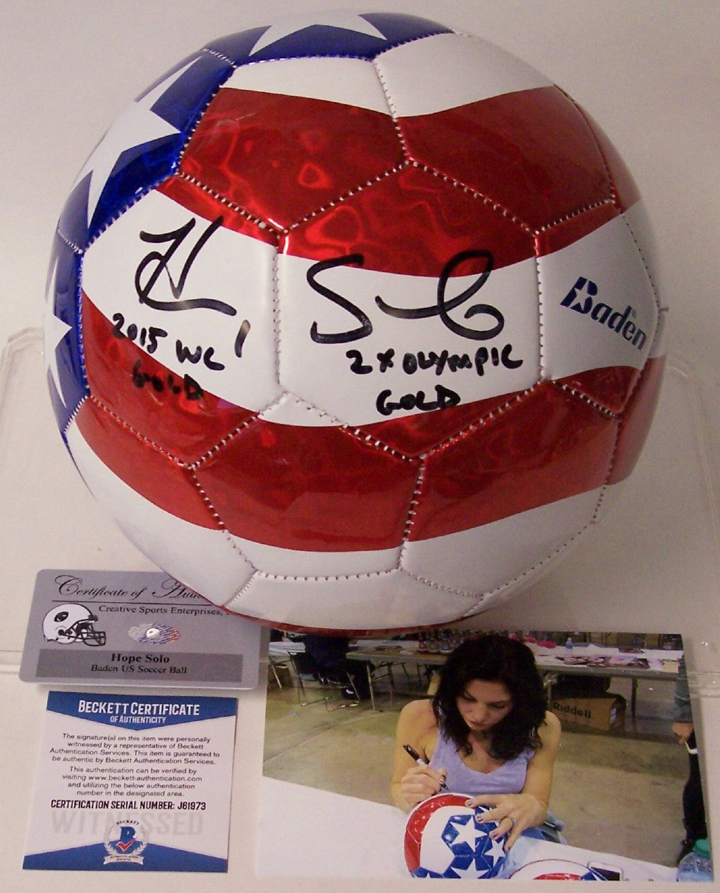 Hope Solo Autographed Hand Signed Baden Soccer Ball - Beckett BAS PSM-Powers Sports Memorabilia