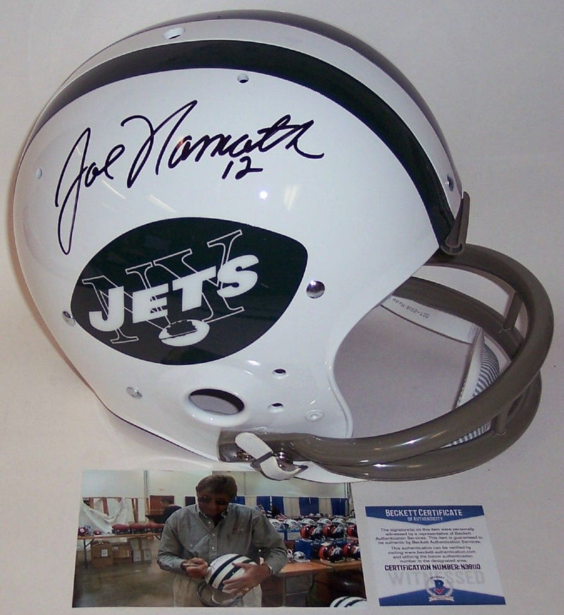 Joe Namath Autographed Hand Signed New York Jets 2-Bar Throwback Full Size Helmet - BAS Beckett PSM-Powers Sports Memorabilia