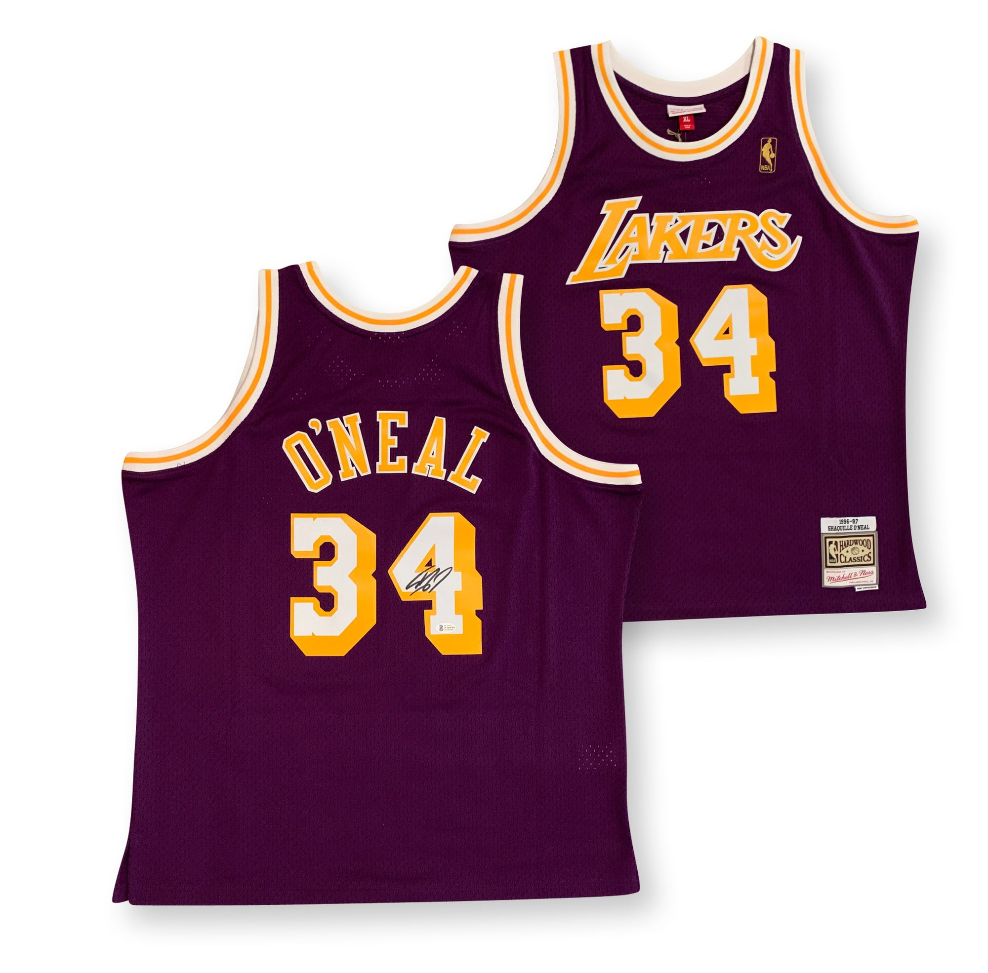 Shaquille O'Neal Autographed Los Angeles Lakers Officially Licensed Mitchell and Ness Swingman Signed 1996-1997 Basketball Purple Jersey Beckett BAS COA-Powers Sports Memorabilia