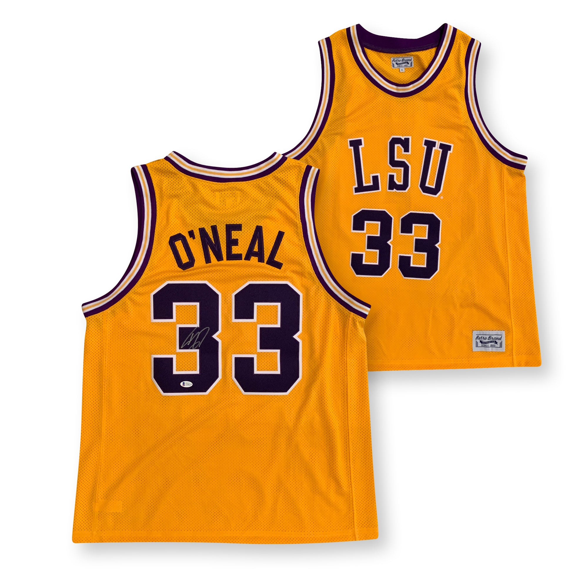 Shaquille O'Neal Autographed LSU Tigers Officially Licensed Retro Brand Signed Basketball Jersey Beckett BAS COA-Powers Sports Memorabilia