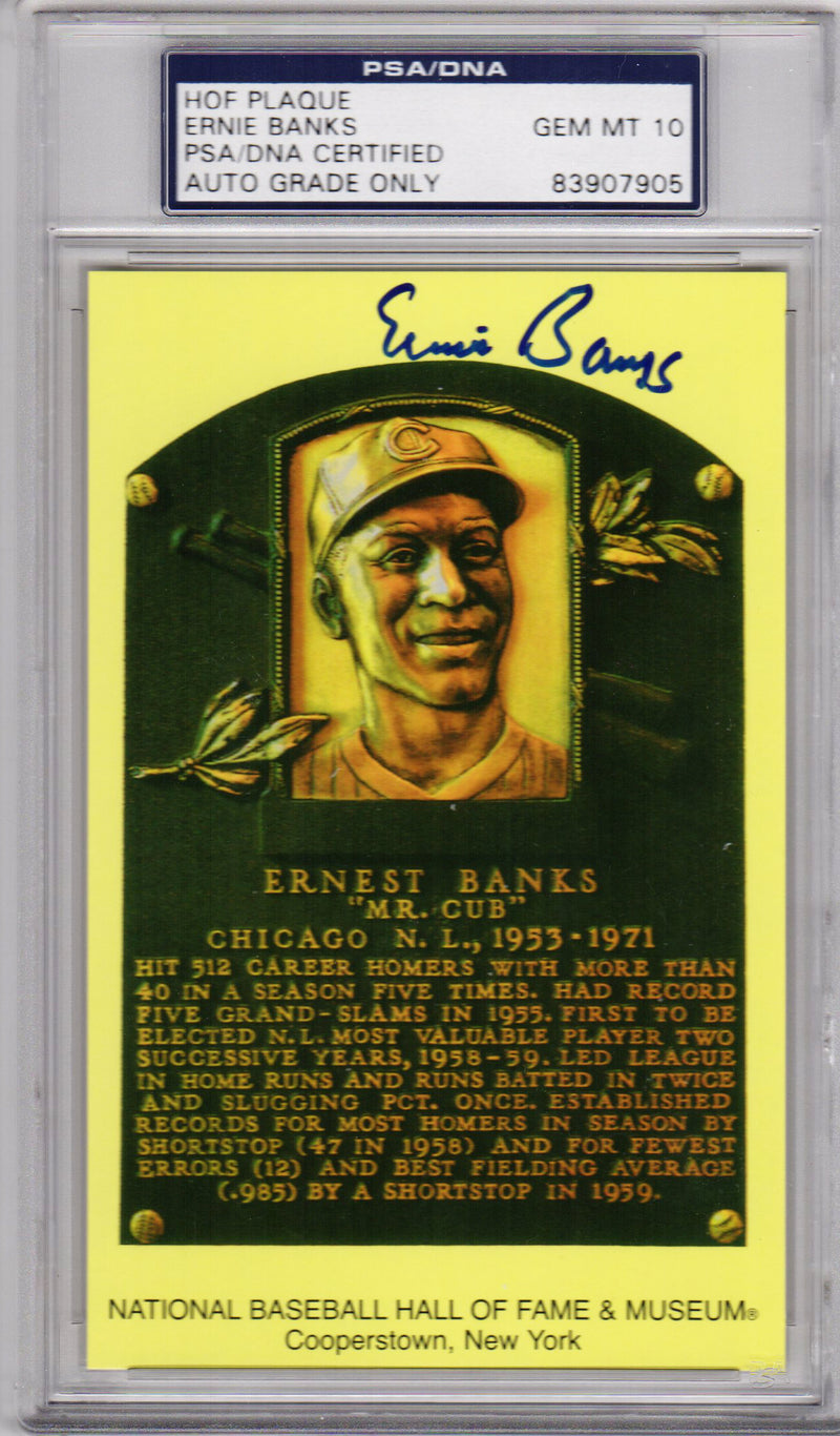 Ernie Banks Signed National Baseball Hall of Fame Plaque Card - (GEM Mint 10 - PSA Encapsulated) PSM-Powers Sports Memorabilia