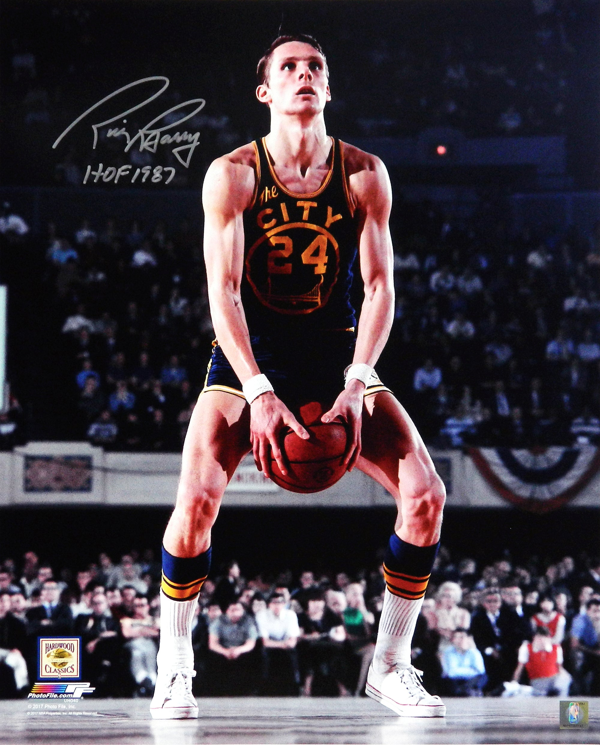 Rick Barry Signed Golden State Warriors Under Hand Free Throw 16x20 Photo w/HOF 1987 PSM-Powers Sports Memorabilia