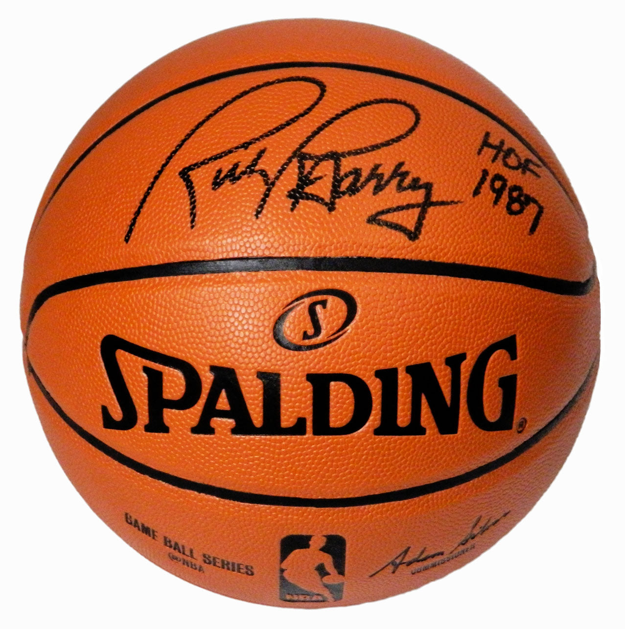 Rick Barry Signed Spalding NBA Game Replica Basketball w/HOF 1987 PSM-Powers Sports Memorabilia