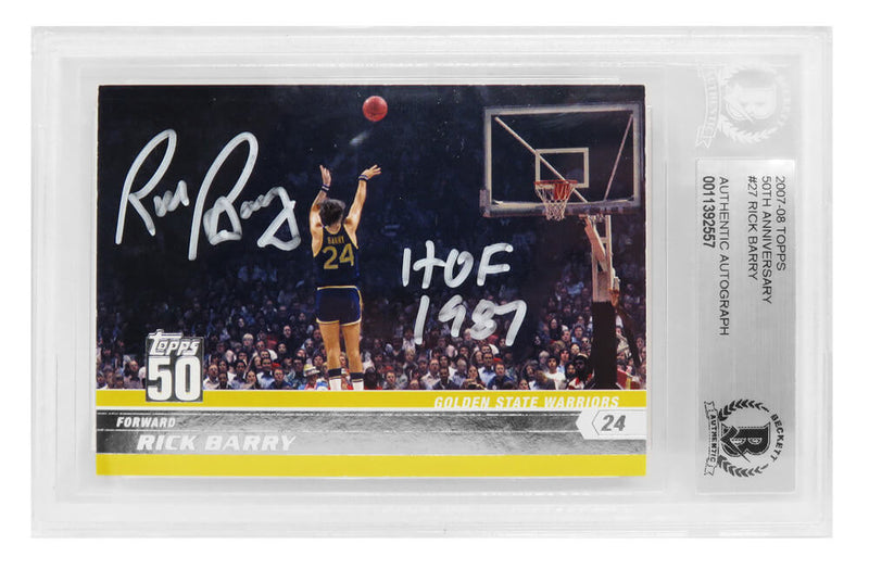 Rick Barry Signed Golden State Warriors 2007-08 Topps 50th Anniversary Basketball Card #27 w/HOF 1987 - (Beckett Encapsulated) PSM-Powers Sports Memorabilia
