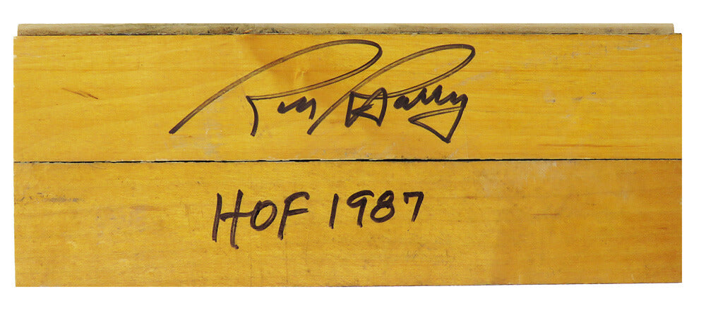 Rick Barry Signed 8x3 Basketball Court Floor Piece w/HOF 1987 PSM-Powers Sports Memorabilia