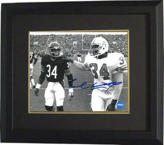 Earl Campbell signed Houston Oilers 16x20 B&W Photo Custom Framing w/ Walter Payton - Fiterman Holo PSM-Powers Sports Memorabilia