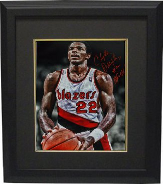 Clyde Drexler signed Portland Trail Blazers 16x20 Photo Custom Framed HOF 04 (foul shot spotlight) PSM-Powers Sports Memorabilia