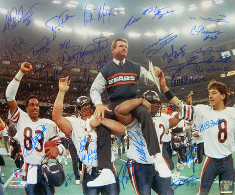 1985 Chicago Bears Team Signed Super Bowl XX Ditka Carried Off Field 16x20 Photo (31 Sigs) PSM-Powers Sports Memorabilia