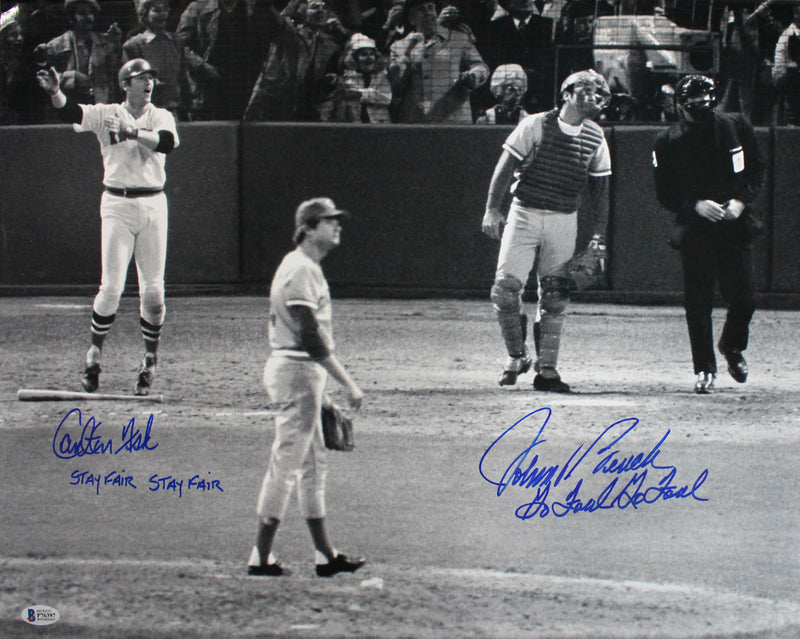 Johnny Bench & Carlton Fisk Signed Red Sox/Reds 16x20 Photo Foul Fair BAS PSM-Powers Sports Memorabilia