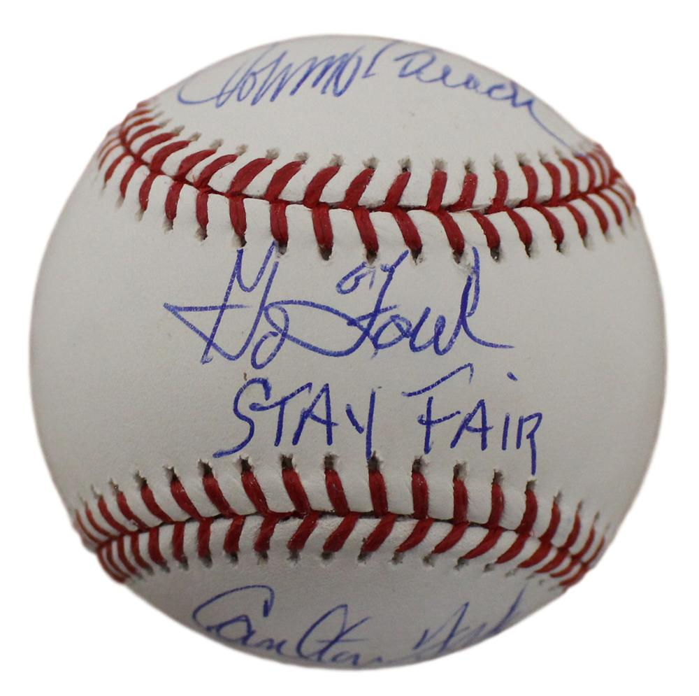 Johnny Bench & Carlton Fisk Signed Red Sox/Reds OML Baseball Foul Fair BAS PSM-Powers Sports Memorabilia