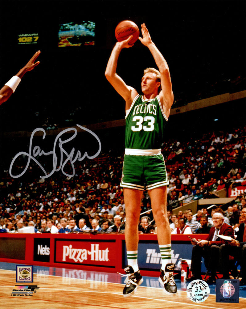 Larry Bird Signed Boston Celtics Green Jersey Jump Shot 8x10 Photo PSM-Powers Sports Memorabilia