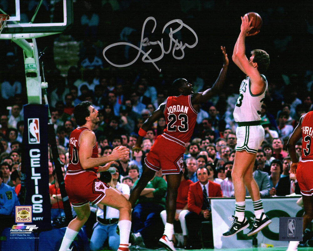 Larry Bird Signed Boston Celtics Shooting Over Michael Jordan 8x10 Photo PSM-Powers Sports Memorabilia