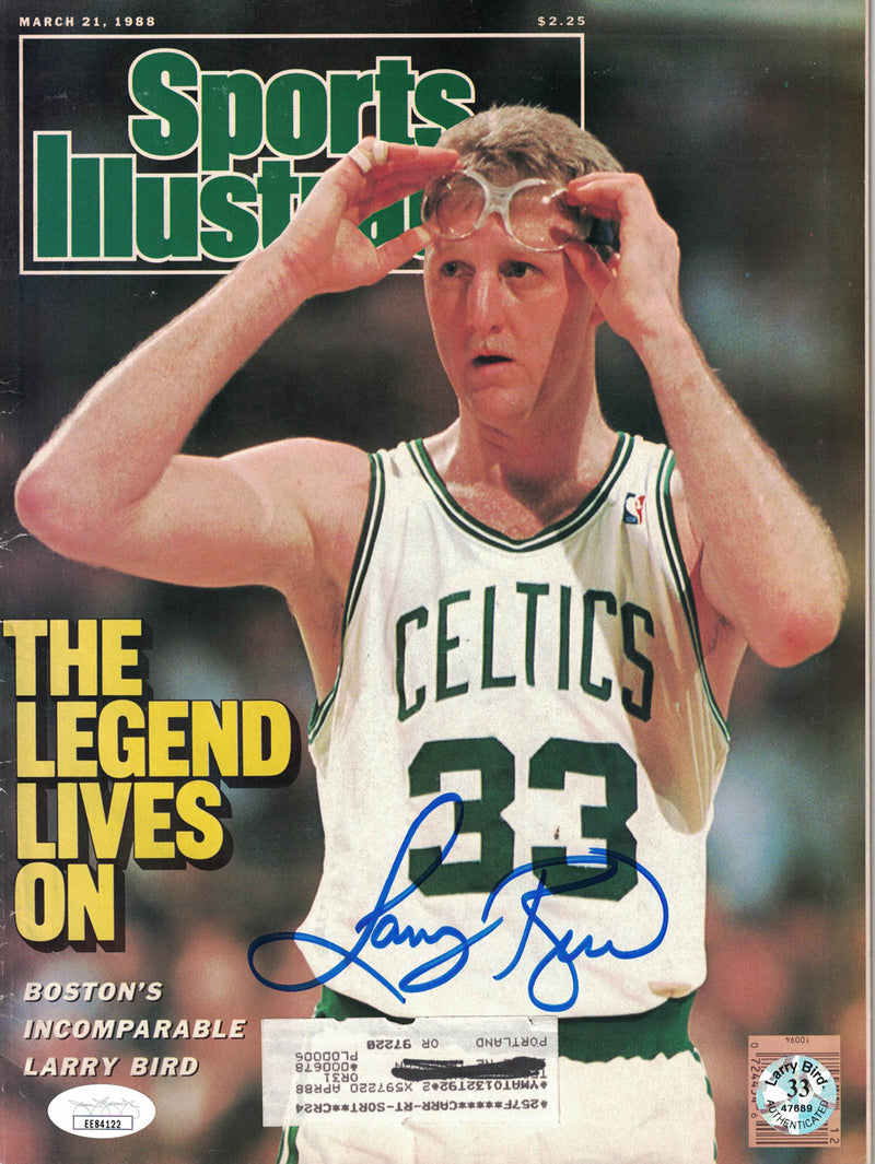 Larry Bird Autographed Boston Celtics Sports Illustrated 3/21/1988 JSA PSM-Powers Sports Memorabilia