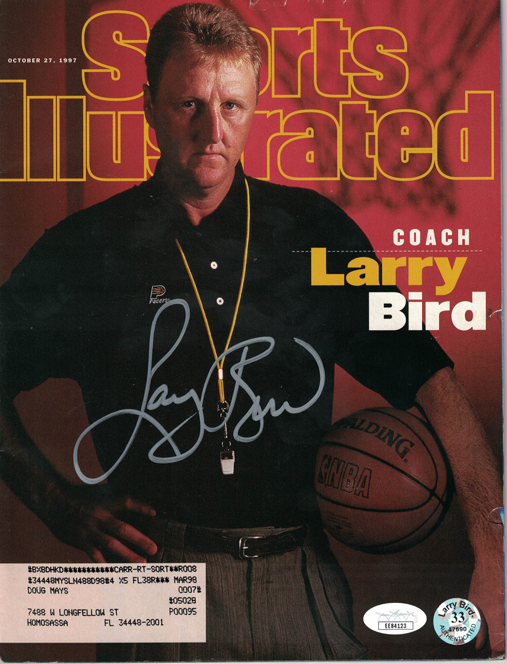 Larry Bird Autographed Indiana Pacers Sports Illustrated 10/27/1997 JSA PSM-Powers Sports Memorabilia