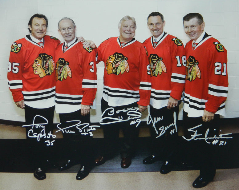 Hull, Esposito, Mikita, Pilote & Savard Signed Blackhawks Legends 16x20 Photo PSM-Powers Sports Memorabilia